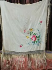 """Antique Chinese Hand Embroidery Piano Shawl cream multicolor 47""""x47+ Fringe 15"""""""
