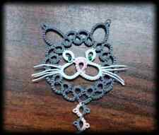 Hand Made Cat and Mouse Bookmark (Tatting Lace)