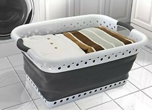 Pop & Load Collapse & Store Space Saving Collapsible Laundry Basket  Clothes Bag