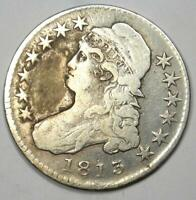 1813 Capped Bust Half Dollar 50C - VF Details - Rare Date Coin!