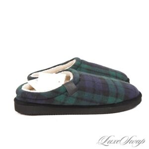 NWT Polo Ralph Lauren Blackwatch Tartan Sherpa Lined House Scuffs Shoes 10 NR