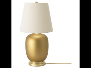 IKEA SKAFT Table lamp, ceramic brass color, black 28""