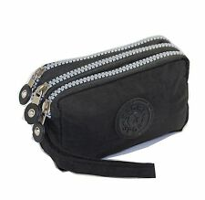Phone Wristlet Pouch 3 Zipped Wallet for iPhone Xs, X, 8, SE by Tainada (Black)