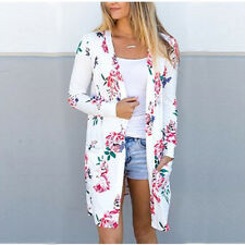 UK Boho Womens Loose Floral Kimono Cardigan Ladies Casual Jacket Tops Plus Size