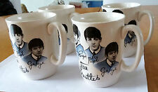 """The Beatles 4x 4"""" Porcelain Cups """"Blue & White"""" from England 1964 Vintage RARE!!"""
