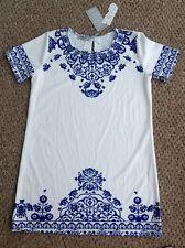 "Elite 99 White & Electric Blue Summer Dress Size Small BNWT Ethnic Print 38"""