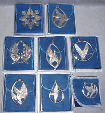 1971--1978 Wallace Sterling Silver Peace Doves Christmas Ornament Complete Set 8