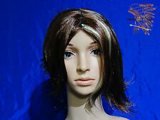 141 Asymmetrical Length Brown with Blonde Highlight Short Wig