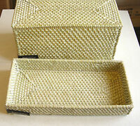 NEW GREEN ZODAX BAMBOU RATTAN GUEST HAND TOWEL TRAY & TISSUE VANITY ORGANIZER