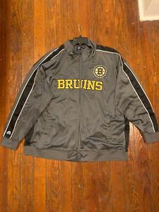 BOSTON BRUINS REFLECTIVE FULL ZIPPER TRACK NHL JACKET 5XL Majestic Hockey Jacket