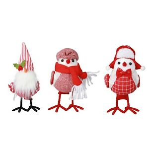 Set 3 Christmas Red & White Winter Fabric Birds w Gnome Scarf Featherly Friends