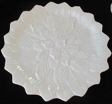NEIMAN MARCUS ITALY RAISED LEAF WHITE DINNER PLATES - SET OF 10