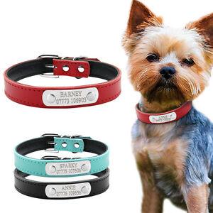 PU Leather Personalised Dog Collars Free Engraving Custom Cat Pet Name ID Collar