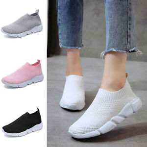 Womens Ladies Sneakers Knit Trainers Slip On Shoes Sport Casual Running Shoes