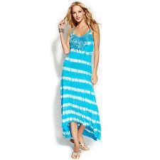 INC International Concepts Maxi Dress Blue Tiedye Sequined Sz PM