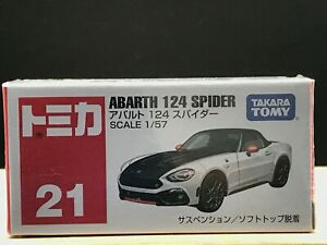 Tomica #21 ABARTH 124 SPIDER 1/57 scale Takara Tomy Toy Vehicle NEW Discontinued