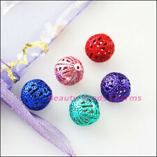 40Pcs Random Mixed Round Filigree Hollow Spacer Beads Chamrs 8mm
