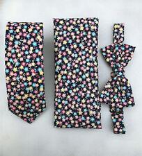 Black Pink Floral Pre-tied Bow tie pocket square skinny tie slim 6cm Set for Men