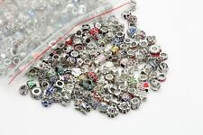Lots Mixed 20pcs Silver Plated Crystal Big Hole Beads for Charms Bracelet Europe