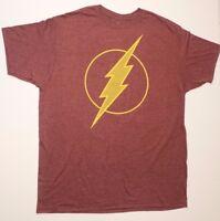 DC Comics The Flash Logo Burgundy Licensed Graphic Adult Shirt Barry Allen Large