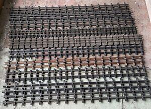 Job Lot 10 Pieces Of Vintage Straight Garden Railway 32mm 3ft Brass3 Rail Track