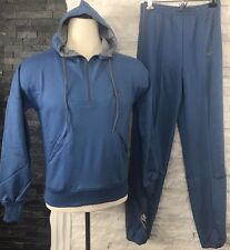 Nike Men's Track Suit Blue Small Hooded Pullover Elastic Waist Pants Vintage New