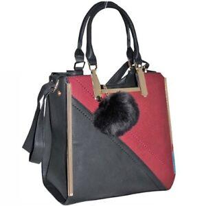 Women Structured Ladies Handbag Tote Elegant with Zip Top and Pompom