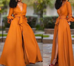 Womens Empire Waist Long Sleeve V-Neck Slim Fit Long Button Up Sexy Dresses Slit