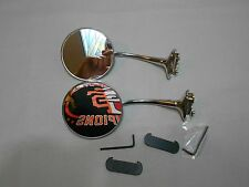 vintage style 4 inch round stainless steel door mount mirror pair of two ( 2 )SS