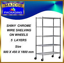 5 Tier Heavy Duty Chrome Wire Shelving on Wheels size 900 x 450 x 1800 mm