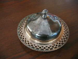 VINTAGE SILVER PLATE BUTTER DISH WITH LID & GLASS BOWL