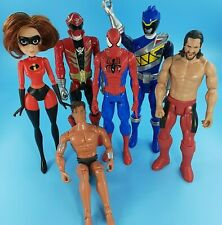 Mixed Lot Of Six 12 Inch Action Figure WWE, Spider-man, Power Rangers & More