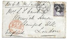 Natal 1879 6d Violet (SG54b) on Cover with '1' Cancel + GPO Natal CDS to London