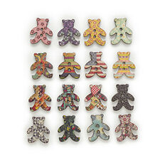 50pcs 2 Hole Mixed Bear Wood Buttons Sewing Scrapbooking Home Decor 25x22mm