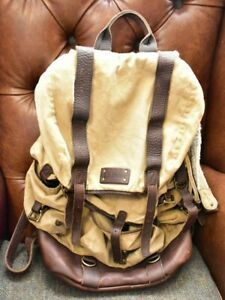 Vintage LL Bean Hunting/Hiking/Outdoor Leather, Sherpa, Waxed Canvas Backpack