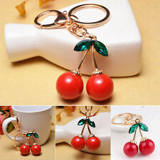Creative Girls Red Cherry Keychain Bag Ornaments Key Chain Pedant Jewelries