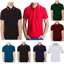 New Mens Polo Shirt Short Sleeve Plain Top Designer Twin Contrast Tip Collar