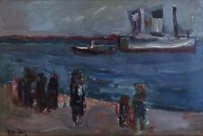 """André BLONDEL (1909-1949)."""" Départ de bateau"""" Huile sur toile.v310"""