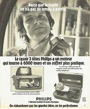 Publicité Advertising 088  1975   rasoir éléctrique  6000 tours Philips 3 tetes