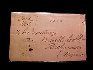 Civil War Confederate COVER  Clarksville,GA to Howell Cobb Richmond PAID Stamped