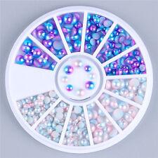 Mixto Azul Blanco perlas Pigmento Arte de uñas manicura  Decoración Nail Art