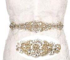 Bridal Wedding Dress Rhinestone Crystal Encrusted Gold Colour Appliqué Sash