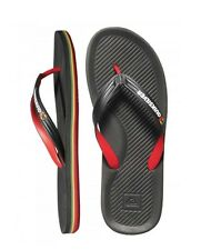 NEW! AUTH QUIKSILVER MEN'S HALEIWA SLIPPERS/ THONGS (BLACK/RED/GREEN, SIZE #8)