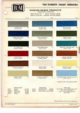 1969 PLYMOUTH VALIANT BARRACUDA BELVEDERE FURY GTX SATELLITE PAINT CHIPS RM 18PC