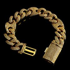 18K Gold Plated Out Iced Lab Diamond Prong Set 14mm Mariner Cuban Link Bracelet