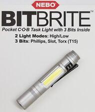 6706 NEBO SILVER Bitbrite COB Task Light Tool Phillips Flat Torx T15 FLASHLIGHT