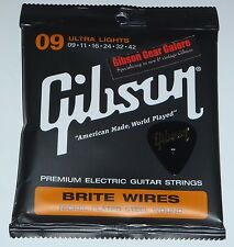 Gibson Guitar Strings Brite Wires Nickel Light Les Paul 9 / 42 Set Parts SG V R9
