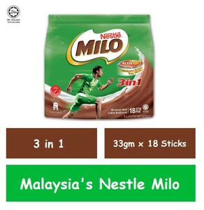 Malaysia's Nestle Milo 3 in 1 Instant Drinks (33gm x 18 Sticks)