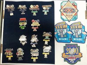 SUPER BOWL COMMEMORATIVE HANGING PIN (x13) & PATCH (x4) LOT (STEELERS,COWBOYS,+)