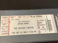 Vintage Ticket Stub Bryan Ferry Live Concert 9/21/2014 Chicago Theatre